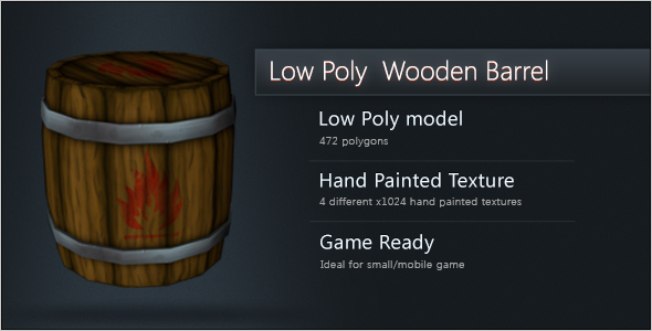 3DOcean Low Poly Wooden Barrel Closed 11039613