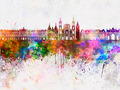 Nancy skyline in watercolor background - PhotoDune Item for Sale
