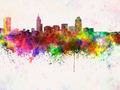 Raleigh skyline in watercolor background - PhotoDune Item for Sale