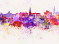 Groningen skyline in watercolor background - PhotoDune Item for Sale