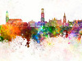 Bruges skyline in watercolor background - PhotoDune Item for Sale