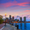 Boston sunset skyline at Fan Pier Massachusetts - PhotoDune Item for Sale