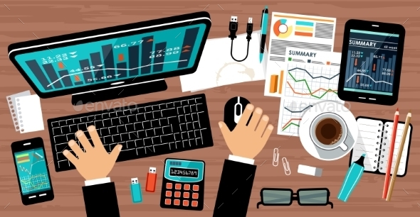 GraphicRiver Flat Design of Office Workspace 11040684
