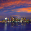 Boston skyline at sunset and river in Massachusetts - PhotoDune Item for Sale