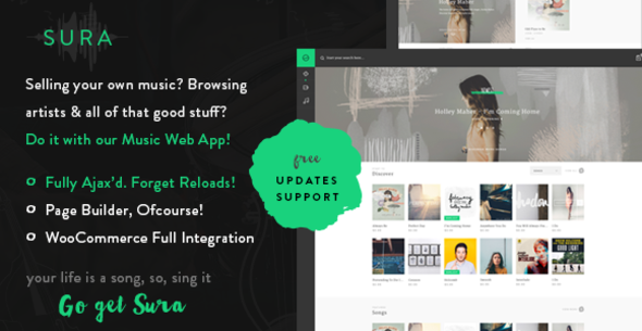 ThemeForest Sura A Music Web App WordPress Theme 10993630