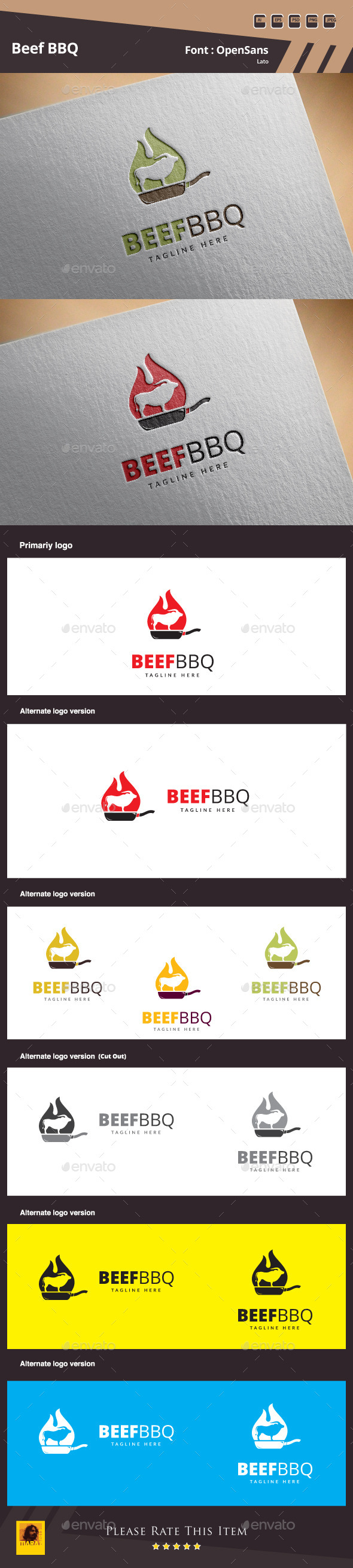 GraphicRiver Beef BBQ Logo Template 11042045