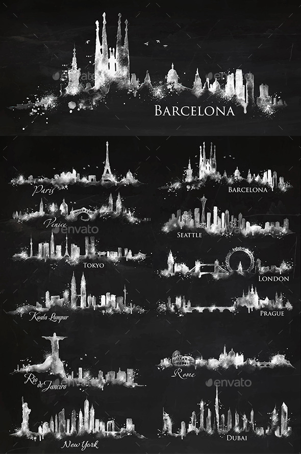 GraphicRiver Silhouette City Chalk 11042291