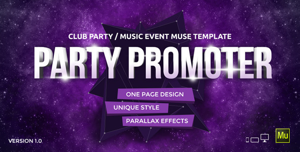 ThemeForest Party Promoter Club Music Event Muse Template 11042688