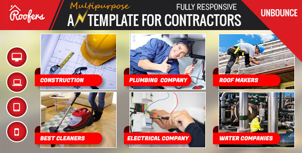 ThemeForest Roofers Contractors Landing Page For Unbounce 11042924