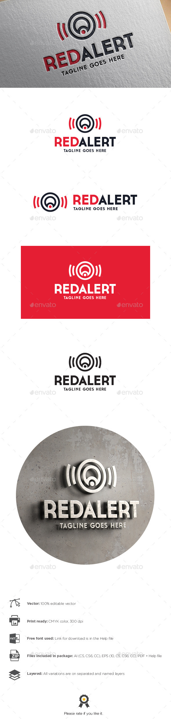 GraphicRiver Red Alert Letter A Logo 11044787