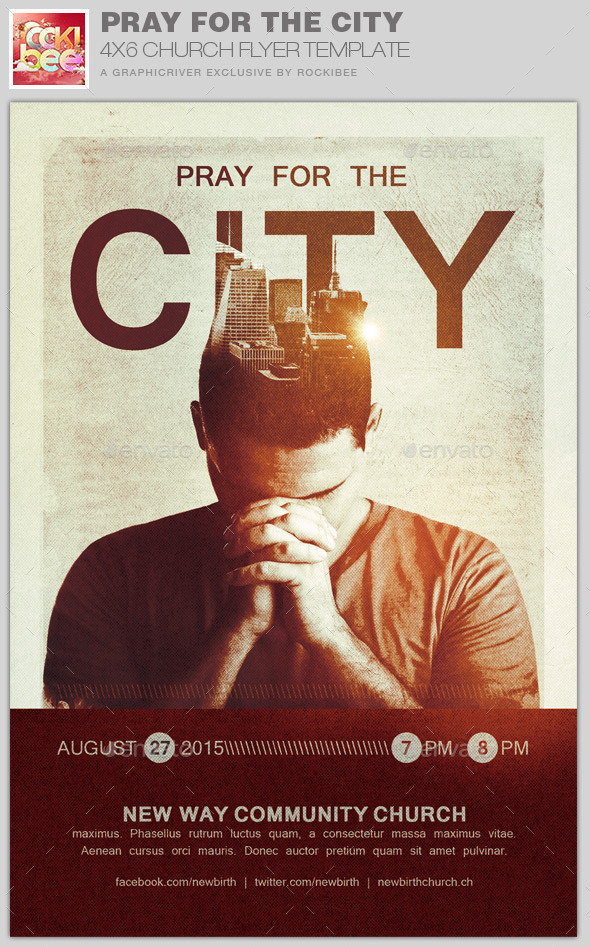 GraphicRiver Pray for the City Church Flyer Template 11045028