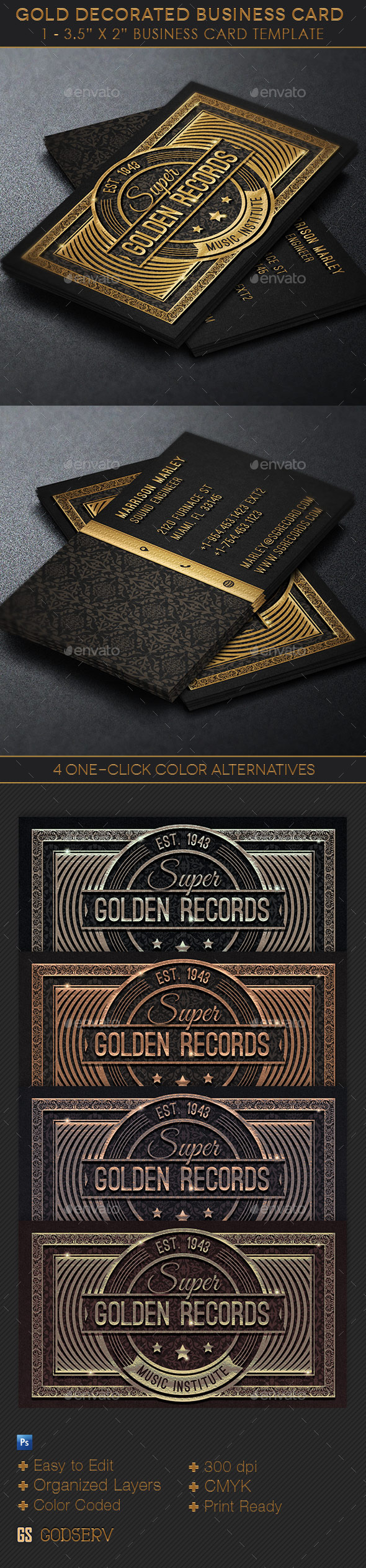 GraphicRiver Gold Decorated Business Card Template 11045306