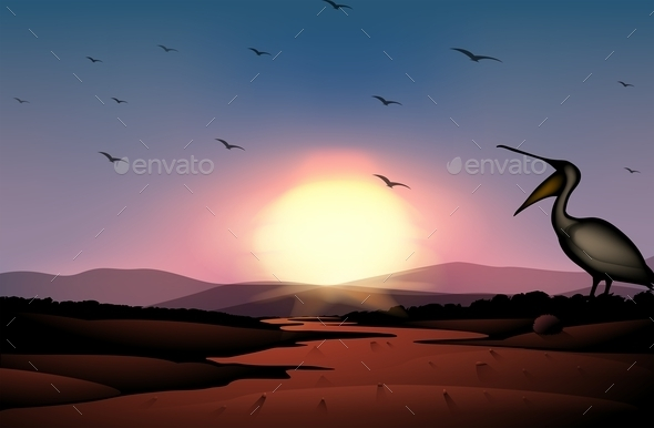 GraphicRiver Sunset at the Desert with a Flock of Birds 11045427