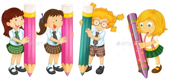 GraphicRiver Students and Pencils 11046513