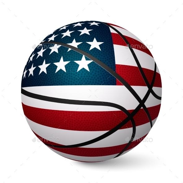 Basketball Ball Flag of USA