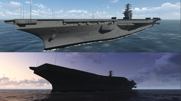 US Navy Aircraft Carrier On The Sea 2-Pack