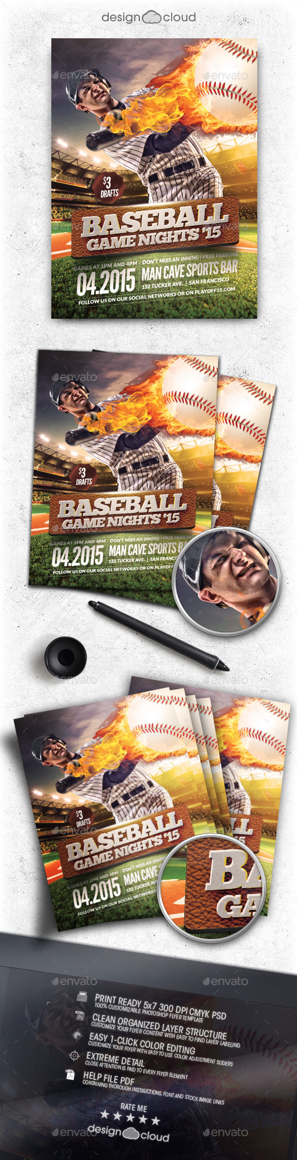 GraphicRiver Baseball Game Nights Flyer Template 11047188