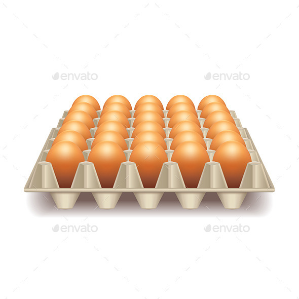GraphicRiver Tray with eggs isolated on white vector 11047225