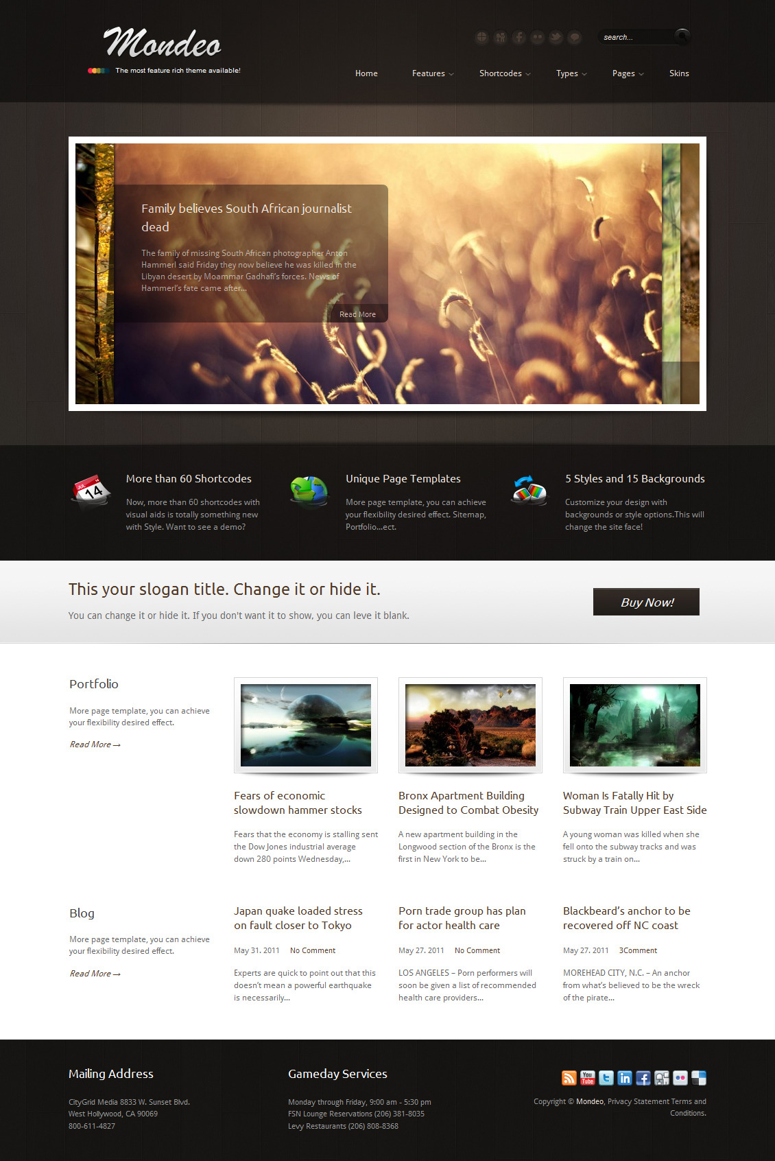 Mondeo Corporate & Portfolio WordPress Theme - The homepage template 3.