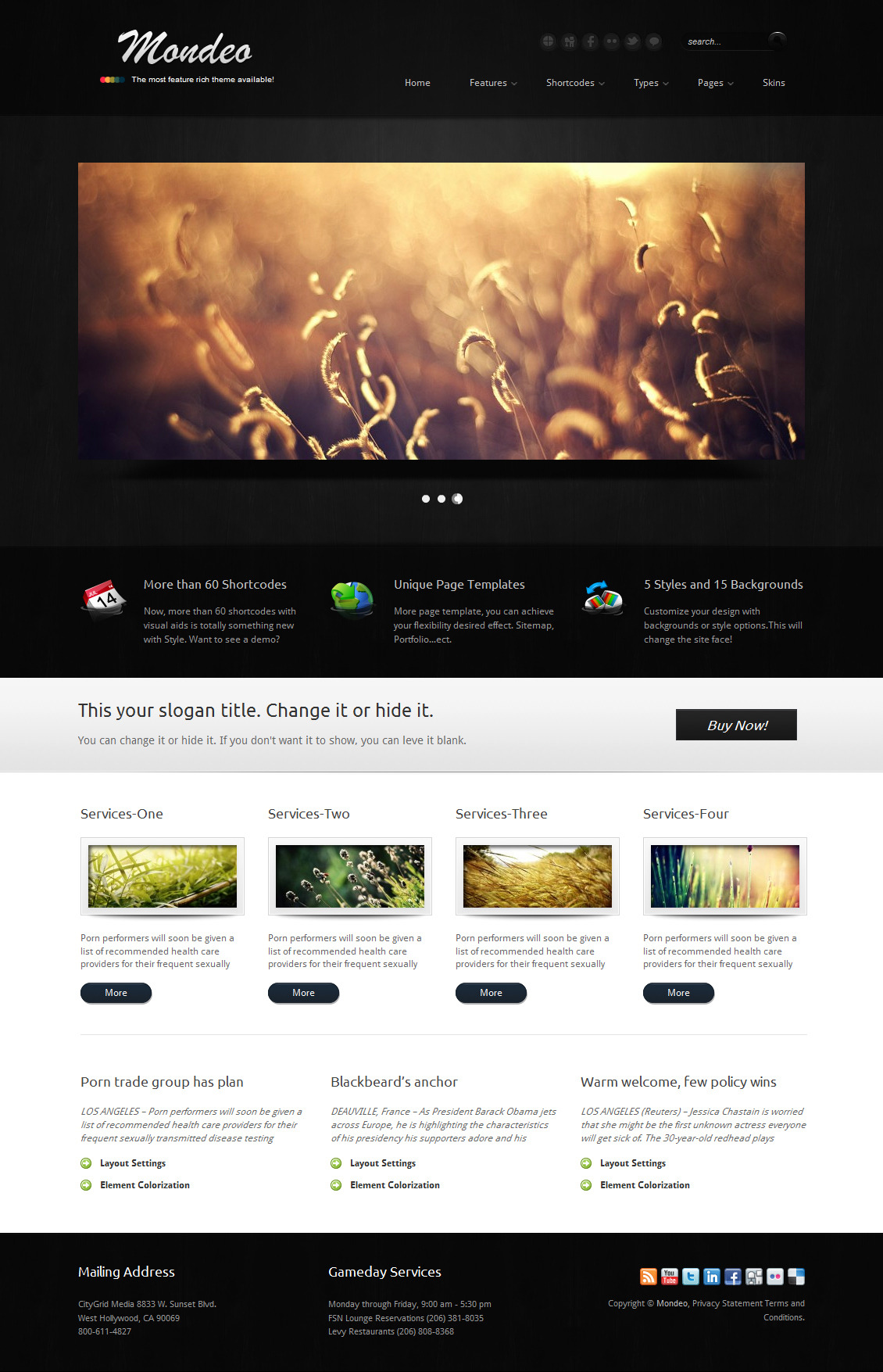 Mondeo Corporate & Portfolio WordPress Theme - The homepage template 4.
