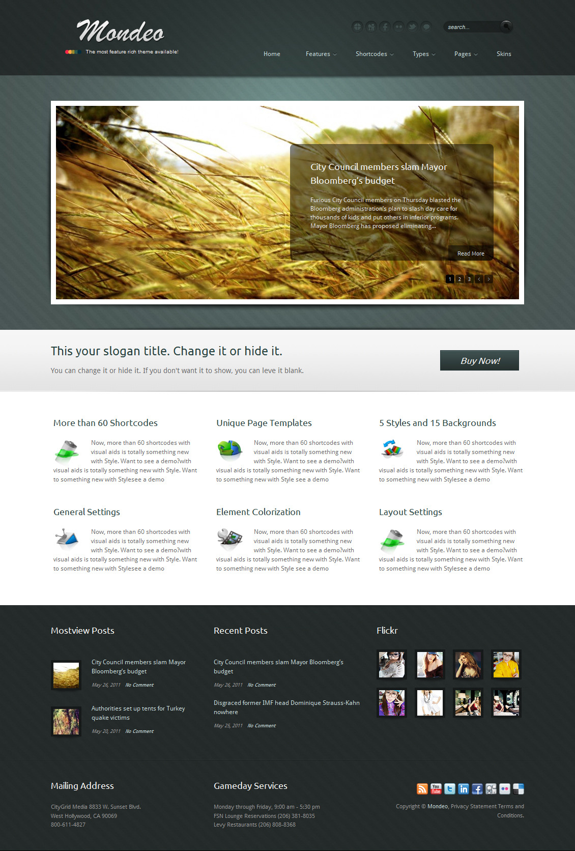 Mondeo Corporate & Portfolio WordPress Theme - The homepage template 5.