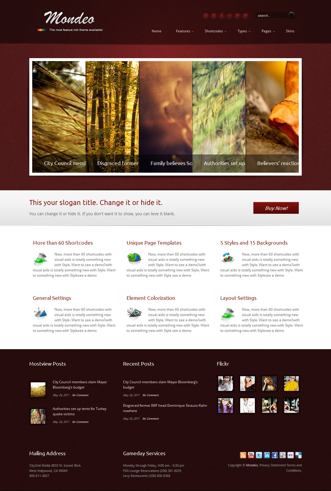 Mondeo Corporate & Portfolio WordPress Theme - The homepage template 6.