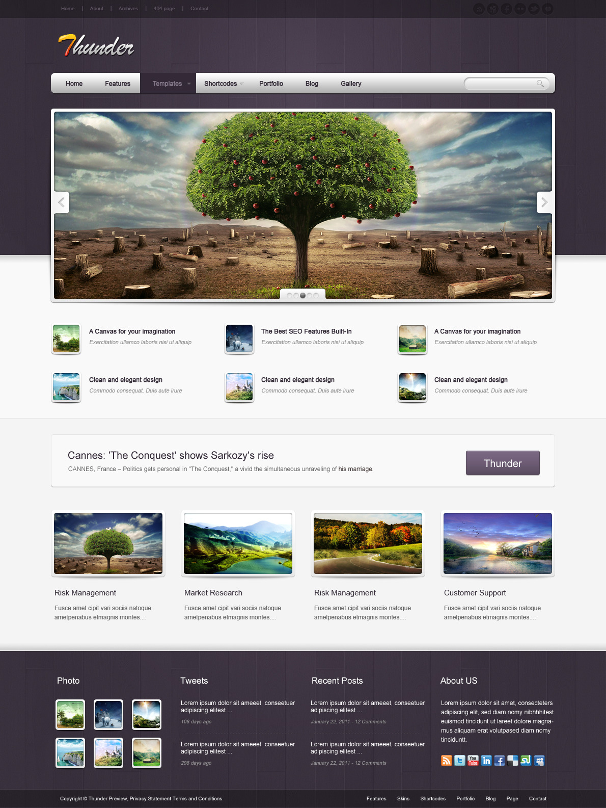 Thunder Corporate & Portfolio WordPress Theme - The homepage template 2.