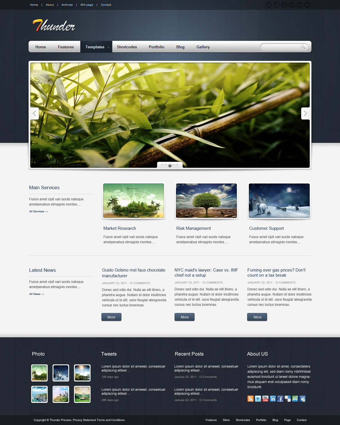Thunder Corporate & Portfolio WordPress Theme - The homepage template 3.