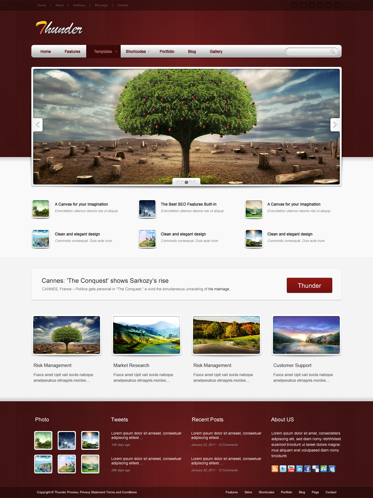 Thunder Corporate & Portfolio WordPress Theme - The homepage template 7.