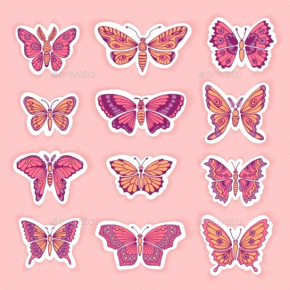 GraphicRiver Set of Butterflies Decorative Isolated Silhouettes 11047581