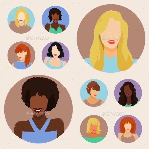 GraphicRiver Set of Female Portraits 11047637