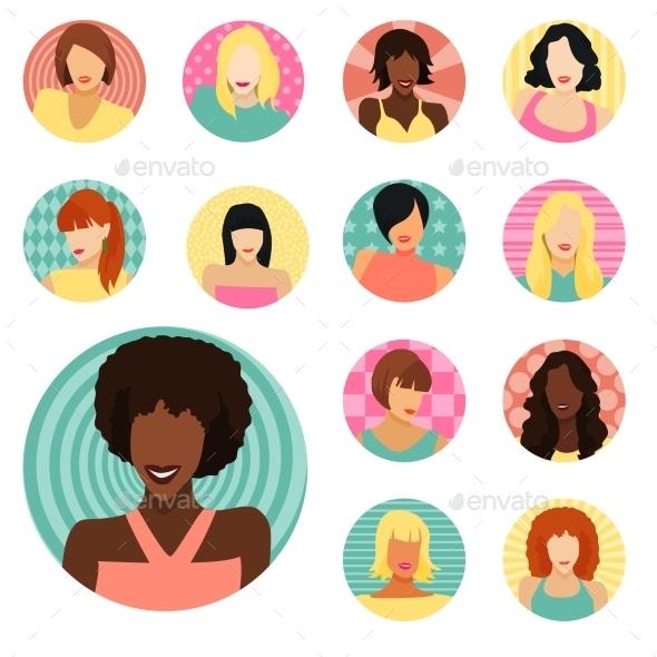 GraphicRiver Set of Female Portraits 11047638