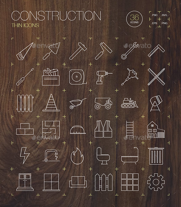 GraphicRiver Construction Thin Icons 11007847