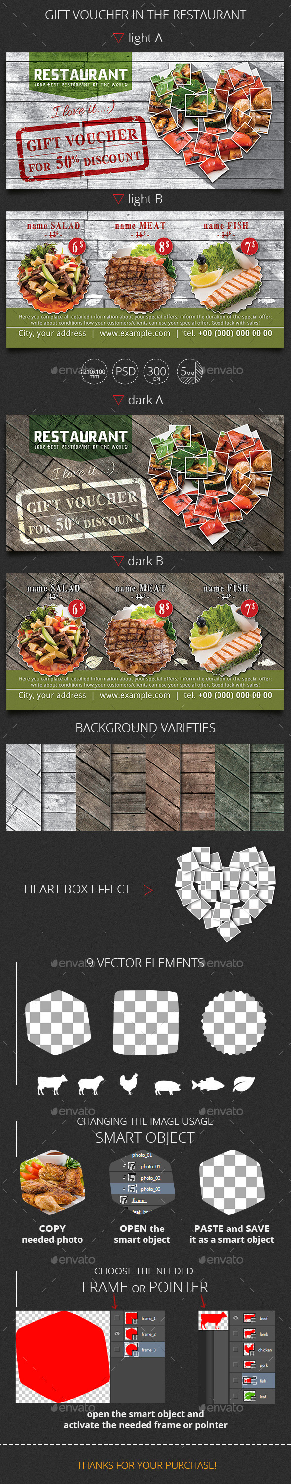 GraphicRiver Gift Voucher in the Restaurant Template 11047917