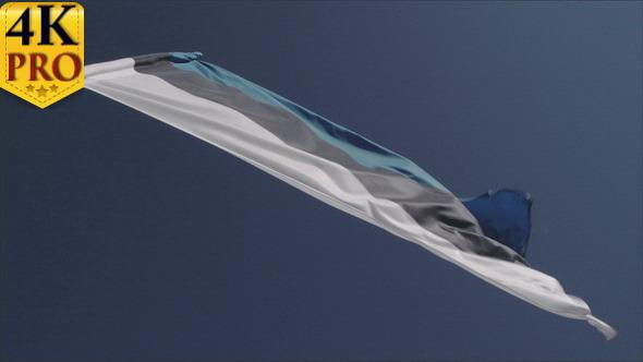An Estonian Flag Waving so Fast on the Breeze