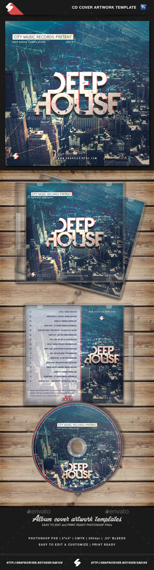GraphicRiver Deep House CD Cover Artwork Template 11048684