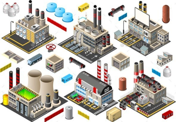 GraphicRiver Isometric Building Factory Set 11048869