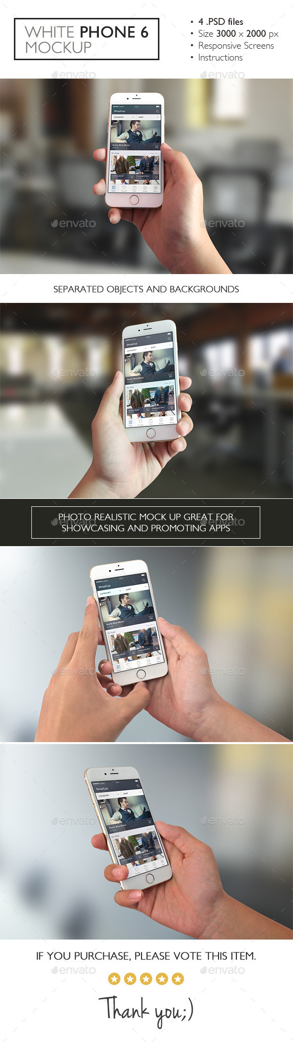 GraphicRiver White Phone 6 Mockup 11049536