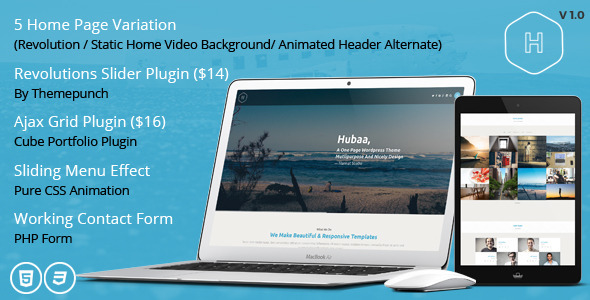 ThemeForest Hubaa One Page Responsive HTML Template 10800885
