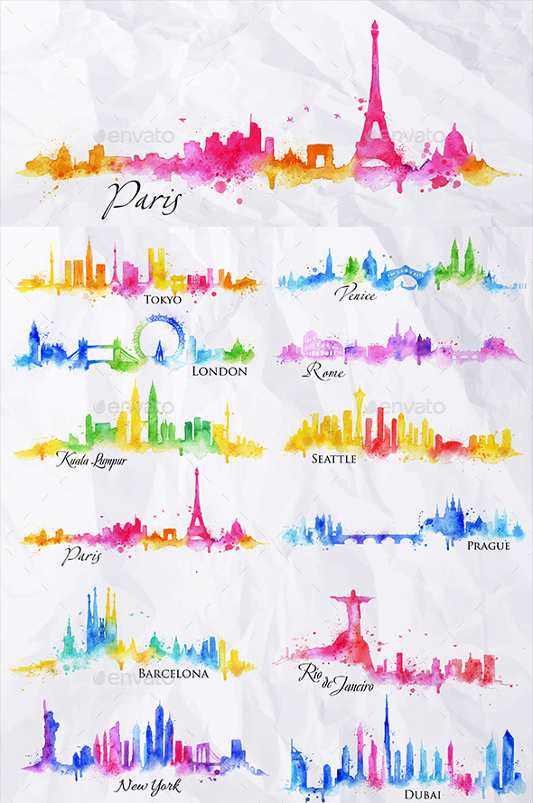 GraphicRiver Watercolor Cities Silhouettes 11050472