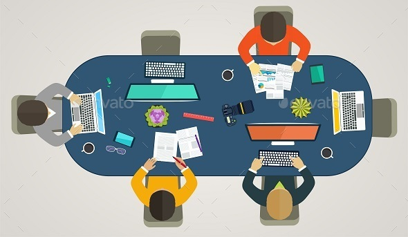 GraphicRiver Teamwork per Computers Online 11050692
