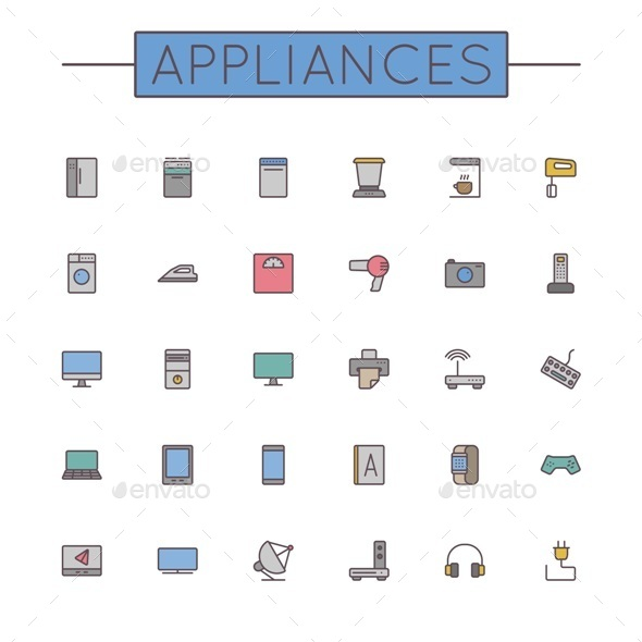 GraphicRiver Vector Colored Appliances Line Icons 11050696