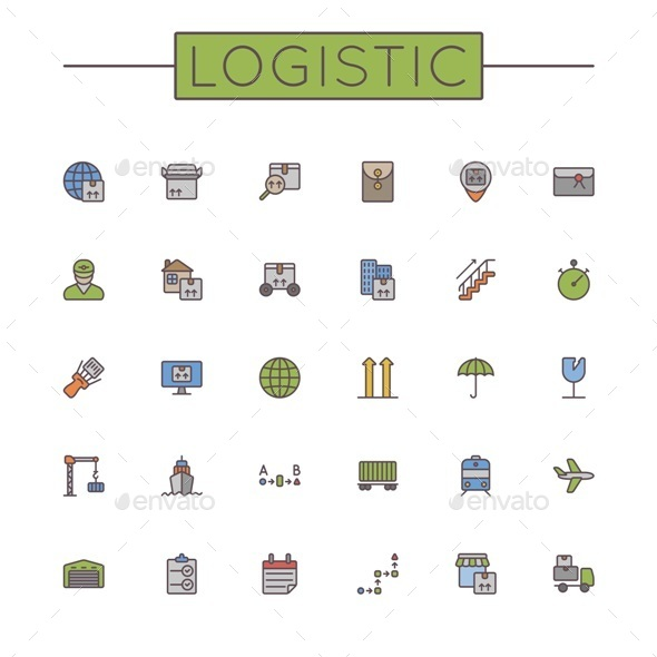 GraphicRiver Vector Colored Logistic Line Icons 11050844