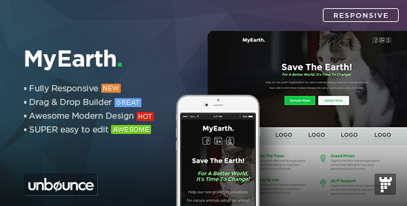 ThemeForest MyEarth Nonprofit Unbounce Landing Page Template 11050989