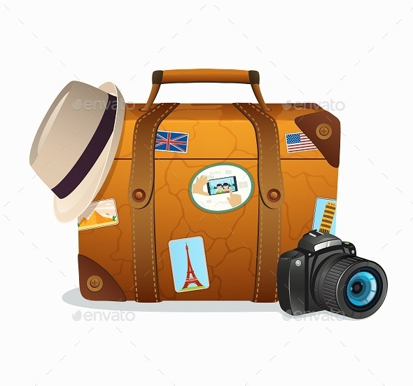 GraphicRiver Vintage Travel Suitcase with Stickers 11051004