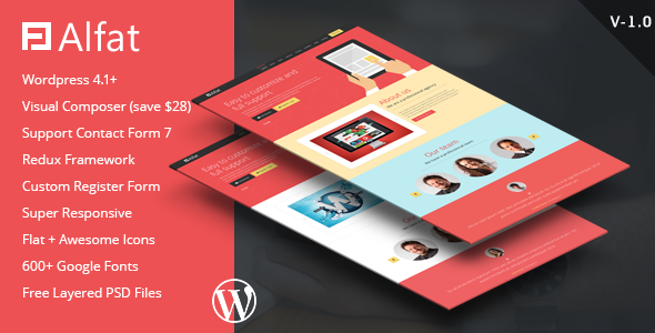 ThemeForest Alfat Super Flat Landing Page WP Theme 11011922
