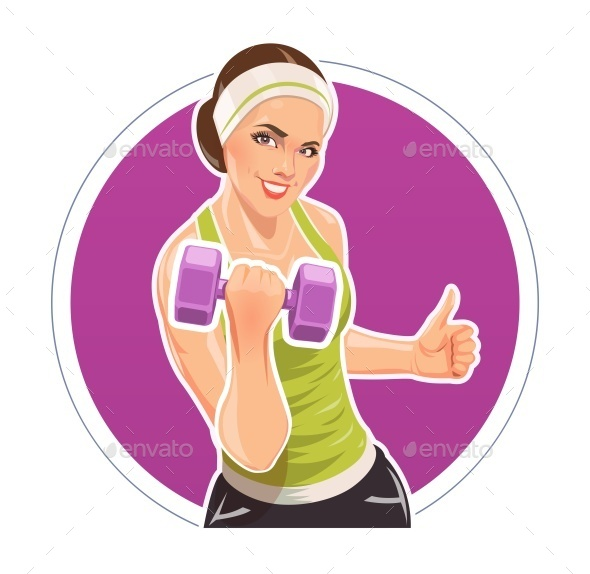 GraphicRiver Girl with Dumbbells For Fitness 11051400