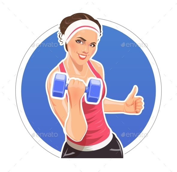 GraphicRiver Girl with Dumbbells For Fitness 11051492