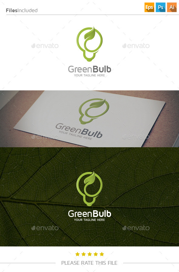 GraphicRiver Green Bulb Logo 11052395