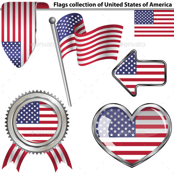 GraphicRiver Glossy Icons with Flags of USA 11052887